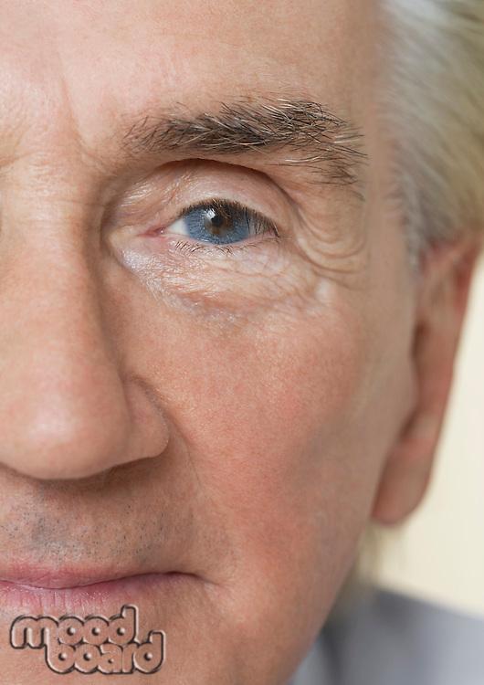 Senior Man close up of half of face