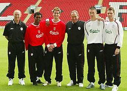LIVERPOOL, ENGLAND - Thursday, July 10, 2003: Liverpool's new signings (l-r) Christian Damiano (coach), Florent-Sinama Pongolle, Harry Kewell, manager Gerard Houllier, Anthony Le Tallec and Steve Finnan at Anfield. (Pic by David Rawcliffe/Propaganda)