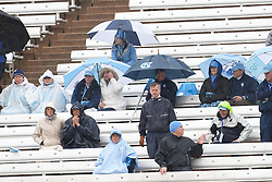 14 March 2009: North Carolina Tar Heels men's lacrosse fans endure the rain during a 8-12 loss to the Duke Blue Devils at Kenan Stadium in Chapel Hill, NC.