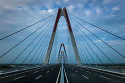 View along the newly constructed Nhat Tan bridge in Hanoi, Vietnam, Southeast Asia