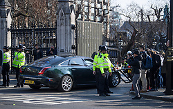 © Licensed to London News Pictures. 29/03/2019. London, UK. A car carrying British Prime Minster Theresa May is seen arriving at parliament in Westminster, London. MPs will later vote on the withdrawal agreement, which sets out the terms of the UK's departure from the EU. Photo credit: Ben Cawthra/LNP
