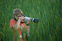 Russell Laman (age 12) photographing wildlife at Great Meadows National Wildlife Refuge.
