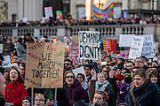 Crowds in Trafalgar Square - Women's March on London - a grassroots movement of women has organised marches around the world to assert the 'positive values that the politics of fear denies' on the first day of Donald Trump's Presidency. Their supporters include: Amnesty International, Greenpeace, ActionAid UK, Oxfam GB, The Green Party, Pride London, Unite the Union, NUS, 50:50 Parliament, Stop The War Coalition, CND.