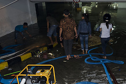 June 24, 2017 - Pekanbaru, Sumatra, Indonesia - A flooded hotel parking garage during a sum rain on June 23,2017 in Pekanbaru, indonesia. The floods that hit Pekanbaru  were due to drainage issues  (Credit Image: © Afrianto Silalahi/NurPhoto via ZUMA Press)