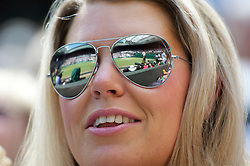 LONDON, ENGLAND - Wednesday, June 29, 2011: Centre Court reflected in a spectator's mirrored sunglasses during the Gentlemen's Singles Quarter-Final match on day nine of the Wimbledon Lawn Tennis Championships at the All England Lawn Tennis and Croquet Club. (Pic by David Rawcliffe/Propaganda)