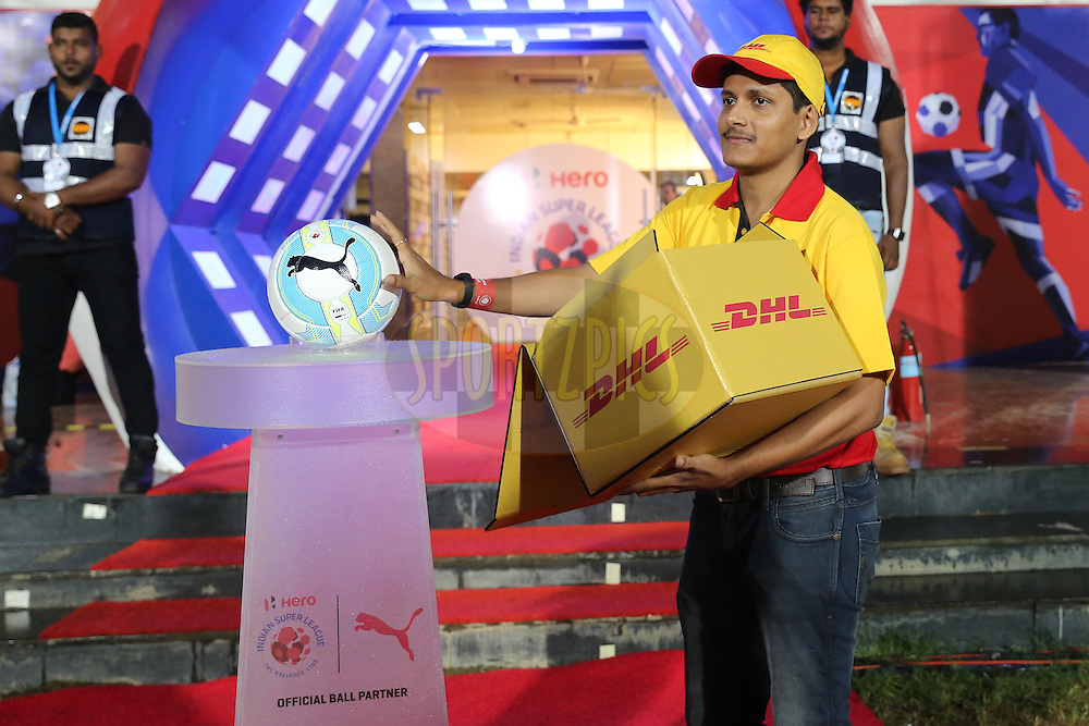 DHL ball delivery boy  during match 8 of the Indian Super League (ISL) season 3 between FC Goa and FC Pune City held at the Fatorda Stadium in Goa, India on the 8th October 2016.<br /> <br /> Photo by Faheem Hussain / ISL/ SPORTZPICS