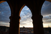 Prague Castle seen from the tower of Old Town Hall during sundown.