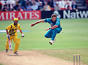 New Zealands Chris Cairns jumps high to avoid the ball during the Cricket World Cup 1999. Photo: Andrew Cornaga / www.photosport.co.nz