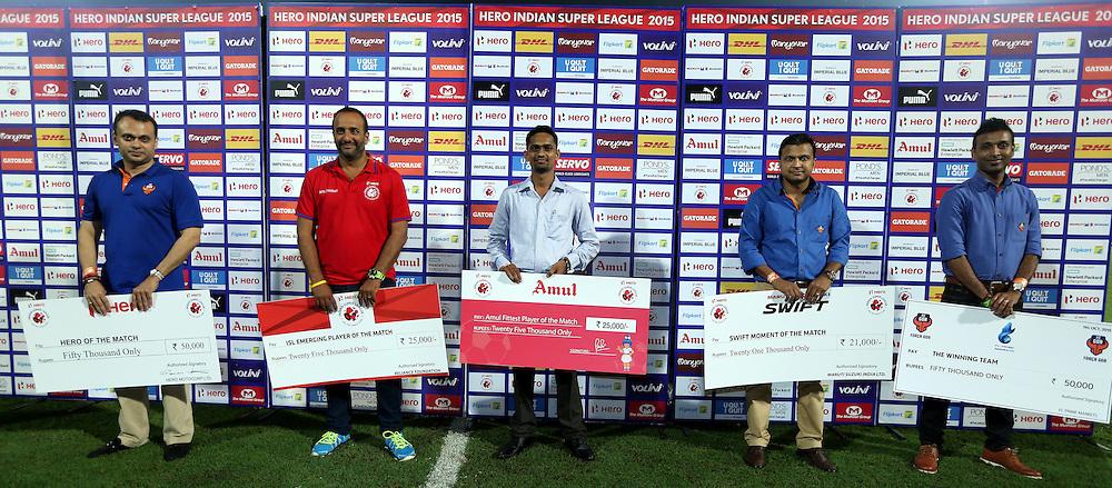 The postr match presentation of the match 9 of the Indian Super League (ISL) season 2  between FC Goa and Chennaiyin FC held at the Jawaharlal Nehru Stadium, Fatorda, Goa, India on the 11th October 2015.<br /> <br /> Photo by Sandeep Shetty / ISL/ SPORTZPICS