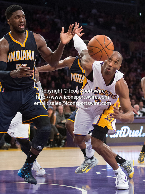 Jan. 4, 2015 - Los Angeles, CA, USA - The Lakers' Kobe Bryant tries to recover a loose ball during a game against the Pacers at Staples Center on Sunday.