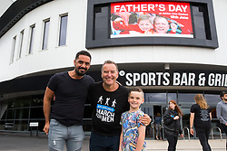 Jeff Stelling chats to City legend Scotty Murray as his March for Men visits Ashton Gate Stadium home of Bristol City FC. Jeff is stopping at 40 football grounds whilst walking 400 miles in 15 days to St James' Park Newcastle to raise money for Prostate Cancer UK - Rogan Thomson/JMP - 03/06/2017 - Ashton Gate Stadium - Bristol, England.