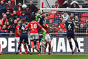 Kiko Casilla (33) of Leeds United punches the ball away during the EFL Sky Bet Championship match between Bristol City and Leeds United at Ashton Gate, Bristol, England on 9 March 2019.
