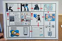 06 AUG 2014, BERLIN/GERMANY:<br /> Ein Pictogramm, das neuen Insassen die Prozedur der Annahme erklaeren soll, Abschiebungsgewahrsam der Berliner Polizei in Berlin-Koepenick, Gruenauer Strasse 140<br /> IMAGE: 20150806-01-012<br /> KEYWORDS: Köpenick, Abschiebungshaft, Abschiebeknast, Abschiebehaft, Polizeiabschiebehaftanstalt, Grünau; Gruenau