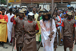 April 14, 2017 - Lagos, Nigeria - Members of St. Leo Catholic Church, Ikaja in Lagos Nigeria, dramatize the Station of the Cross, suffering and death of Jesus Christ on Good Friday, April 14 2017. (Credit Image: © Adekunle Ajayi/NurPhoto via ZUMA Press)