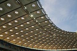 KIEV, UKRAINE - Easter Monday, March 28, 2016: A view of the roof of the Olimpiyskiy Stadium before the International Friendly match at the NSK Olimpiyskyi Stadium. (Pic by David Rawcliffe/Propaganda)