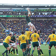 Victor Matfield, South Africa, wins a line out during the South Africa V Australia Quarter Final match at the IRB Rugby World Cup tournament. Wellington Regional Stadium, Wellington, New Zealand, 9th October 2011. Photo Tim Clayton...