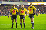 Referee Mike Adamson (centre) and touch judges Keith Allen (left) and David Sutherland watch the television reply during the 1872 Cup second leg Guinness Pro14 2019_20 match between Edinburgh Rugby and Glasgow Warriors at BT Murrayfield Stadium, Edinburgh, Scotland on 28 December 2019.