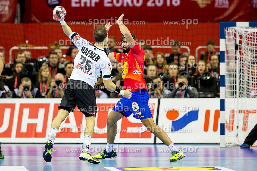 31.01.2016, Tauron Arena, Krakau, POL, EHF Euro 2016, Deutschland vs Spanien, Finale, im Bild Kai Haefner (Nr 25, TSV Hannover-Burgdorf) gegen Jorge Maqueda (Nr 5, HC Vardar Pro) // during the 2016 EHF Euro final match between Germany and Spain at the Tauron Arena in Krakau, Poland on 2016/01/31. EXPA Pictures &copy; 2016, PhotoCredit: EXPA/ Eibner-Pressefoto/ Koenig<br /> <br /> *****ATTENTION - OUT of GER*****