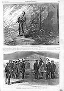 Lincoln assassin Boothe's Capture in a burning Virginia barn and postmortem exam on the Rappahannock River(bottom). Harper's Weekly, Sat May 13, 1865 Vol IX No 437