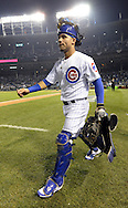 CHICAGO, IL - OCTOBER 16:  Willson Contreras #40 of the Chicago Cubs walks out onto the field prior to Game 2 of NLCS against the Los Angeles Dodgers at Wrigley Field on Sunday, October 16, 2016 in Chicago, Illinois. (Photo by Ron Vesely/MLB Photos via Getty Images) *** Local Caption *** Willson Contreras