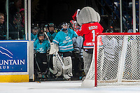 KELOWNA, CANADA - DECEMBER 7: Rocky Racoon, the mascot of the Kelowna Rockets high fives minor hockey players as they enter the ice during intermission against the Seattle Thunderbirds on December 7, 2016 at Prospera Place in Kelowna, British Columbia, Canada.  (Photo by Marissa Baecker/Shoot the Breeze)  *** Local Caption ***