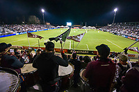 The Tower Bridge Battalion beats large drums and wave flags during the Sacramento Republic FC friendly match against the Seattle Sounders at Papa Murphy Field, Thursday Feb 15, 2018.  <br /> photo by Brian Baer