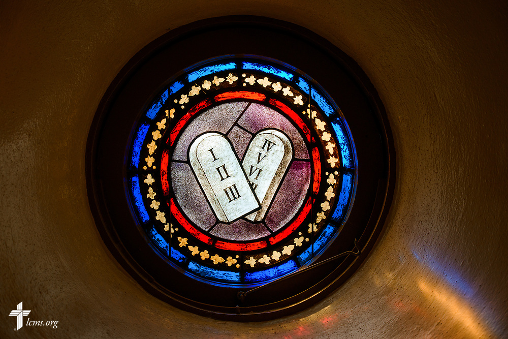 Stained glass depicting the Ten Commandments on Wednesday, Sept. 20, 2017, at Prince of Peace Lutheran Church in the Over-the-Rhine neighborhood of Cincinnati. LCMS Communications/Erik M. Lunsford