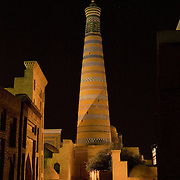 Islom Hoja minaret at night, Khiva