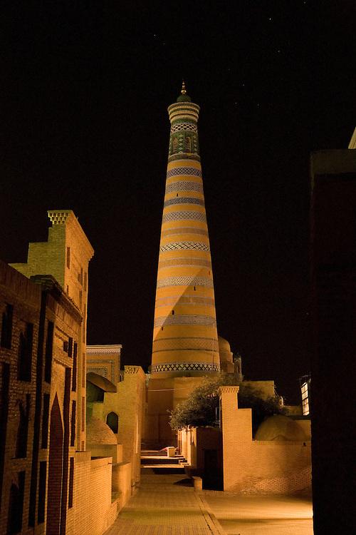 Islom Hoja minaret at night, Khiva