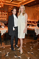 Left to right, JULIE BRANGSTRUP and JODIE KIDD at the Cash & Rocket Tour Announcement Launch Lunch in association with McArthur Glen was held at The Grill, The Dorchester, Park Lane, London on 12th March 2015.