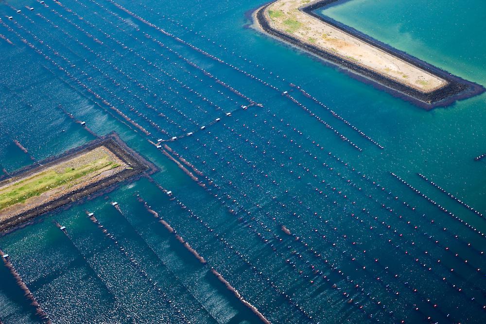 Nederland, Zeeland, Neeltje Jans, 12-06-2009; Mussel beds for mussel farming in Oosterschelde (East Scheldt) near Neeltje Jans. Southwest Netherlands.<br /> Mosselpercelen voor mosselteelt in het water van de Roompot, vlak bij de Stormvloedkering in de Oosterschelde. De drijvende hangcultuur zorgt voor grote opbrengt en zandvrije mosselen.<br /> luchtfoto (toeslag op standaard tarieven);<br /> aerial photo (additional fee required);<br /> copyright foto/photo Siebe Swart.