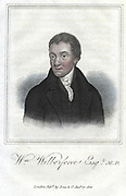 William Wilberforce (1759-1833) English philanthropist, Evengelical Christian and campaigner for abolition of slavery. Hand-coloured engraving 1821.