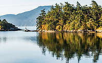 A view from Sucia Island looking south across Fossil Bay and the Salish SEa at Orcas Island, Washington, USA.