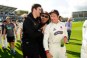 Somerset Director of Cricket Matt Maynard with Jamie Overton of Somerset and Roelof van der Merwe of Somerset as they do a lap of honour after beating Middlesex to secure survival in Division 1 of the Specsavers County Champ Div 1 match between Somerset County Cricket Club and Middlesex County Cricket Club at the Cooper Associates County Ground, Taunton, United Kingdom on 28 September 2017. Photo by Graham Hunt.