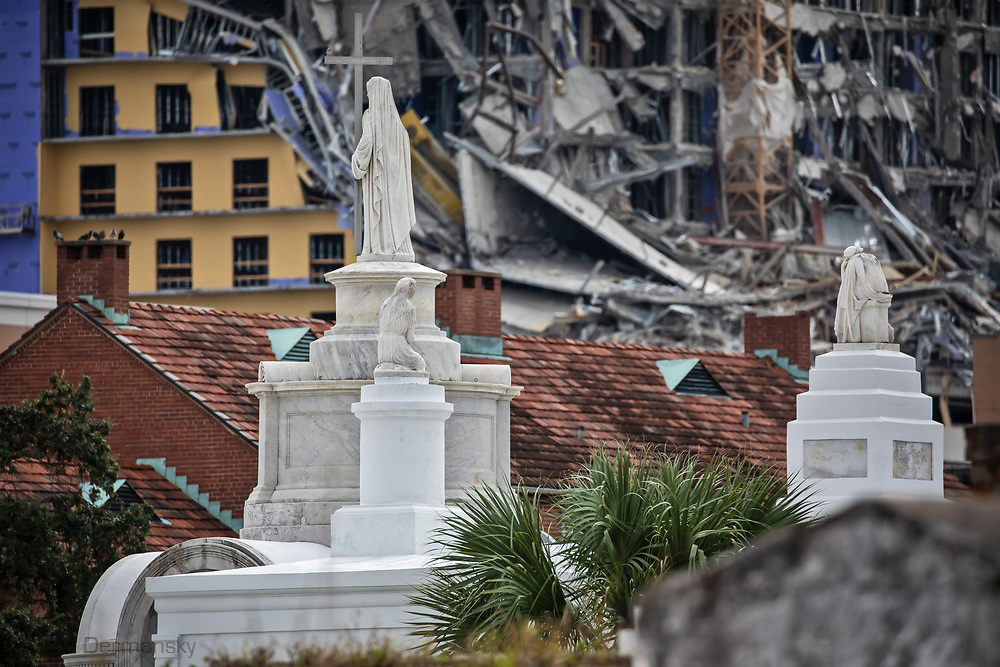 October 12, 2019,  View of the  collapsed Hard Rock Hotel during construction in New Orleans seen from the Saint Louis Cemetery #2.