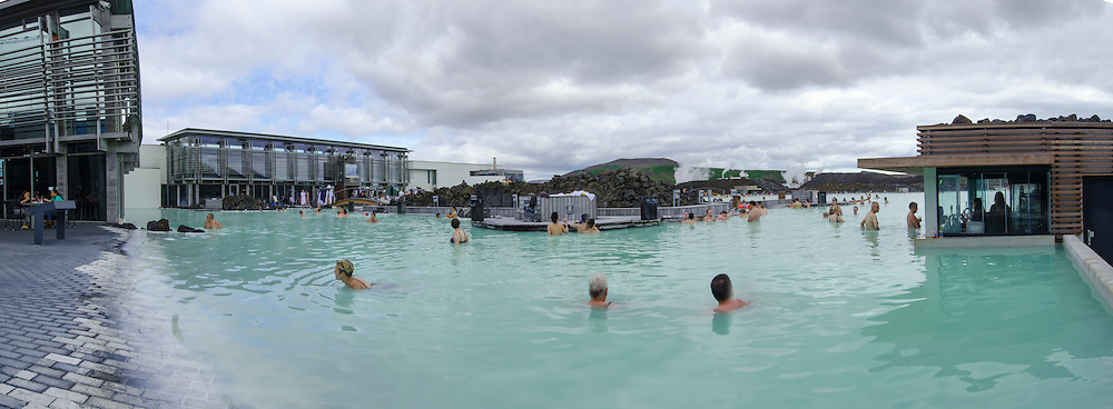 Panorama of the Blue Lagoon in Iceland.