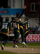Shahid Afridi celebrates bowling Herschelle Gibbs during the ICC World Twenty20 Cup semi-final between South Africa and Pakistan at Trent Bridge. Photo © Graham Morris (Tel: +44(0)20 8969 4192 Email: sales@cricketpix.com)
