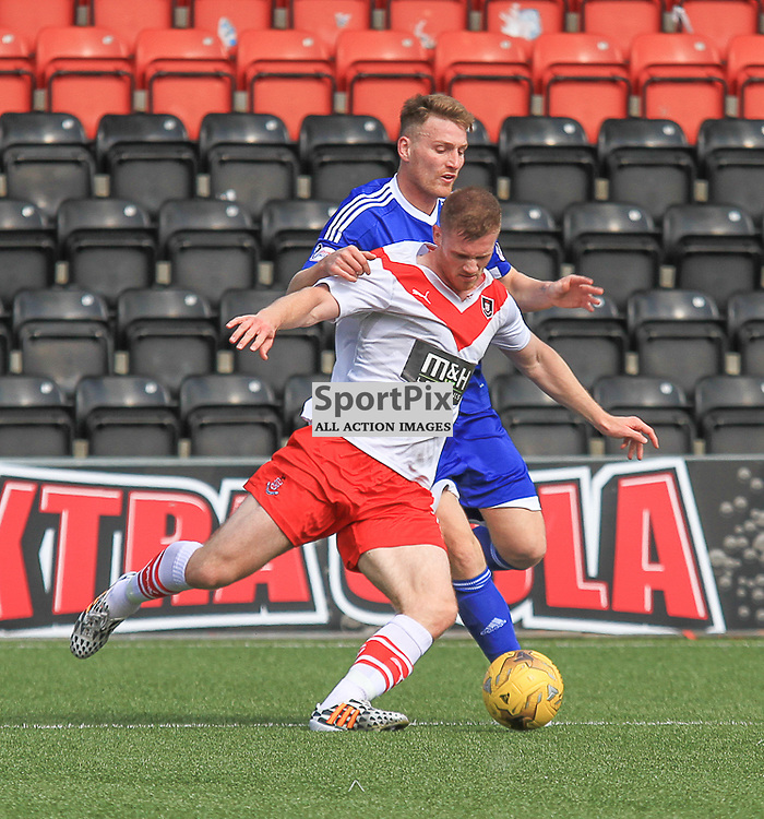 Airdrieonians V Peterhead  Scottish League One 29 August 2015;  Peterhead's Rory McAllister tries to get passed an Airdrie defender during the Airdrieonians V Peterhead Ladbrokes Scottish League One match played at Excelsior Stadium, Airdrie.