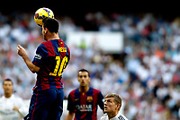 """Spanish  League""- match Real Madrid Vs FC Barcelona- season 2014-15 - Santiago Bernabeu Stadium - Lionel Messi(FC Barcelona) in action during the Spanish League match against Real Madrid(Photo: Guillermo Martinez / Bohza Press / Alter Photos)"