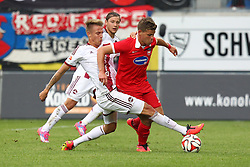 24.09.2014, Voith Arena, Heidenheim, GER, 2. FBL, 1. FC Heidenheim vs 1. FC Nuernberg, 7. Runde, im Bild Links Ondrej Petrak ( 1.FC Nuernberg ) rechts Florian Niederlechner (1.FC Heidenheim) // during the 2nd German Bundesliga 7th round match between 1. FC Heidenheim and 1. FC Nuernberg at the Voith Arena in Heidenheim, Germany on 2014/09/24. EXPA Pictures © 2014, PhotoCredit: EXPA/ Eibner-Pressefoto/ Langer<br /> <br /> *****ATTENTION - OUT of GER*****