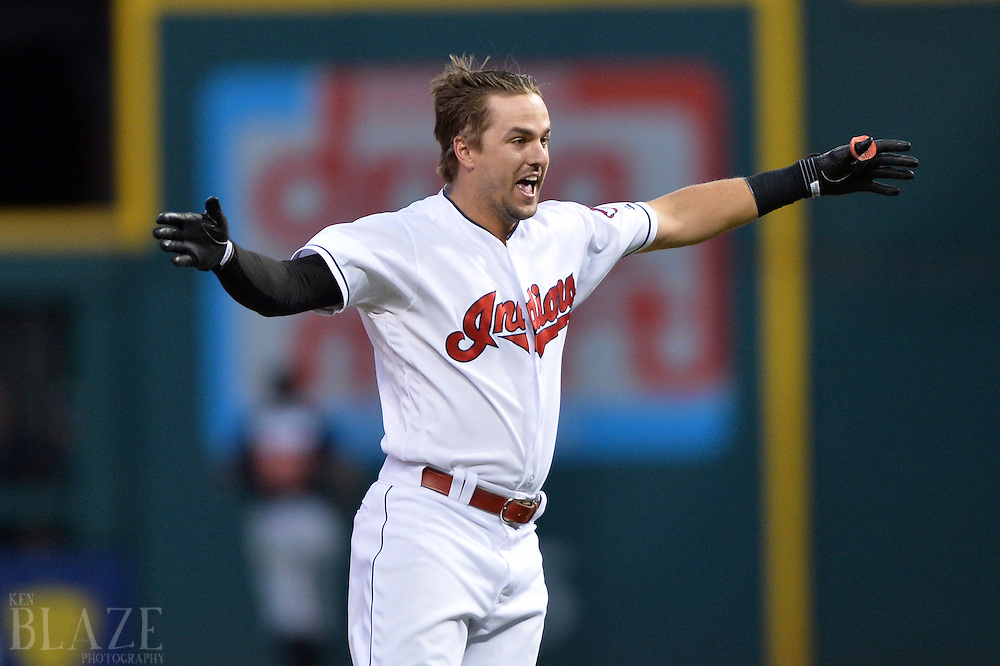 Sep 4, 2016; Cleveland, OH, USA; Cleveland Indians right fielder Lonnie Chisenhall (8) celebrates after hitting a game winning single during the ninth inning to beat the Miami Marlins 6-5 at Progressive Field. Mandatory Credit: Ken Blaze-USA TODAY Sports