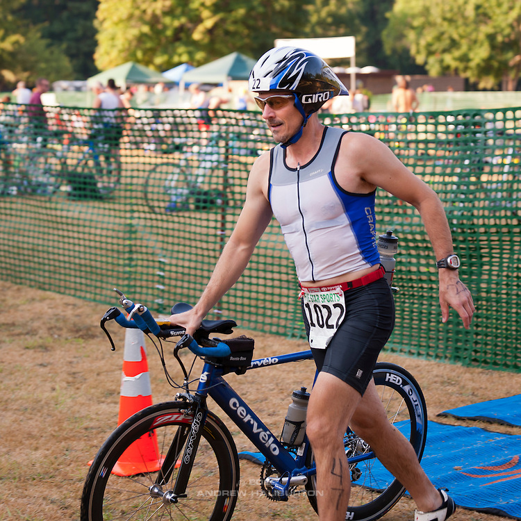 Ted Lamb Bike Start.  Best in the West Triathlon.  Half Ironman Triathlon at Foster Lake on 10 September 2011, Sweet Home, Oregon.