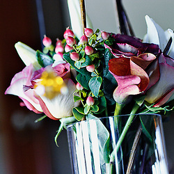 Bouquet of flowers in glass vase.