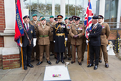 Lieutenant Genera; Tyrone Urch, centre, poses with members of the armed forces as the London Borough of Haringey and representatives of the Armed Forces honour Lieutenant-Colonel Sir Brett Mackay Cloutman VC MC KC with the unveiling of the final London Victoria Cross Commemorative paving stone in Hornsey, London. November 06 2018.