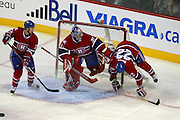 17 November 2009: Montreal Canadiens' Paul Mara finished his run into Carey Price's net during the first period against Carolina Hurricanes at the Bell Centre in Montreal, Quebec, Canada. Montreal Canadiens defeated Carolina Hurricanes 3-2 after a shootout.