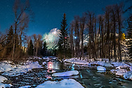 Fireworks on Aspen Mountain in Aspen, Colorado, during the 2015 Winterskol festivities.