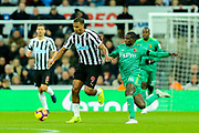 Jose Salomon Rondon (#9) of Newcastle United on the ball under pressure from Abdoulaye Doucoure (#16) of Watford during the Premier League match between Newcastle United and Watford at St. James's Park, Newcastle, England on 3 November 2018.