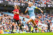 Manchester United Women forward Jane Ross (19) and Manchester City Women defender Steph Houghton (6) in action during the FA Women's Super League match between Manchester City Women and Manchester United Women at the Sport City Academy Stadium, Manchester, United Kingdom on 7 September 2019.