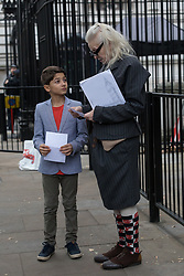 © Licensed to London News Pictures. 26/10/2017. LONDON, UK.  Nine-year-old Oliver Simpson, who wrote to Prime Minister Theresa May about his fracking fears with Vivienne Westwood where they were refused access to deliver a letter to the Prime Minister. Oliver wrote about Swiss Petrochemical Giant Ineos seeking an Injunction to prevent any protest from the villagers of Marsh Lane, Derbyshire, where he lives.  Photo credit: Vickie Flores/LNP