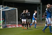 Connor Coupe is congratulated by Cedwyn Scott after firing Dundee into the leade during St Johnstone v Dundee in the SPFL development league at McDiarmid Park, Perth<br /> <br />  - &copy; David Young - www.davidyoungphoto.co.uk - email: davidyoungphoto@gmail.com